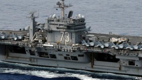 美國核動力航空母艦「喬治·華盛頓號」在南海巡航(16/10/2012)