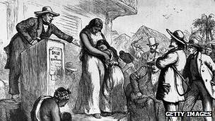 Imagen histórica de venta de esclavos