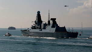 HMS Dauntless, en Portsmouth / Foto de archivo