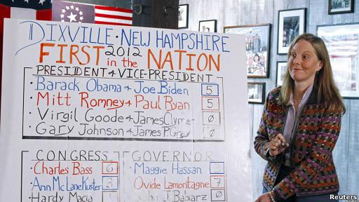 Donna Kaye Erwin escribe los resultados después de que los diez habitantes de Dixville Notch emitieran su voto.