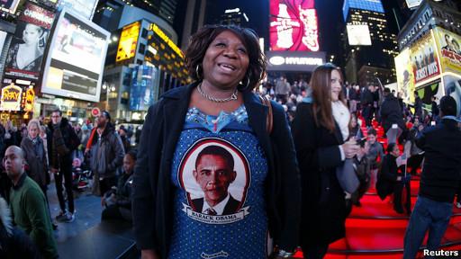 Una hondureña partidaria de Obama en Times Square