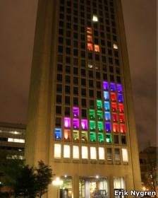 Edificio con decoración de Tetris