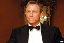 British actor Daniel Craig, playing the role of James Bond