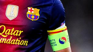 Escudo del FC Barcelona en una camiseta