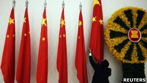 东盟峰会期间的中国国旗