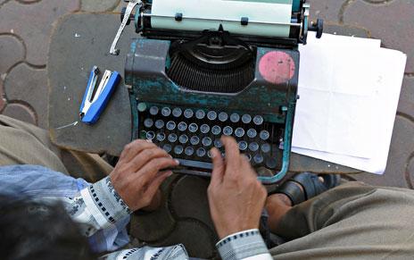 Máquina de escribir en India