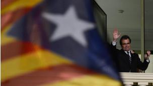 Artur Mas y la bandera catalana