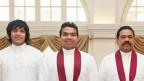 Rohitha Rajapaksa (L) with brother Namal and father, Mahinda (R)