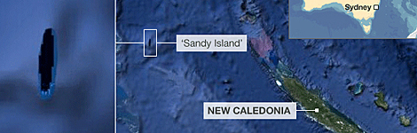 Sandy Island as it appears on a map