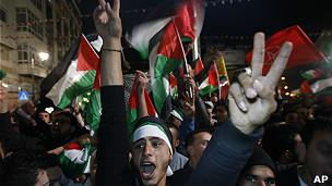 Palestinos en las calles de Ramallah
