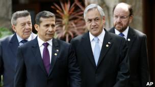 Ollanta Humala, Sebastián Piñera, Rafael Roncagliolo y Alfredo Moreno.