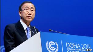 Ban Ki-Moon en la cumbre de Qatar