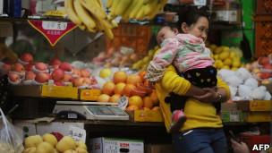 Một quầy trái cây ở Thượng Hải