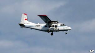 中国海监飞机在钓鱼岛