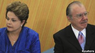 José Sarney y presidenta de Brasil Dilma Rousseff