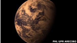 Imagen de artista sobre planeta alrededor de Gliesse 667C