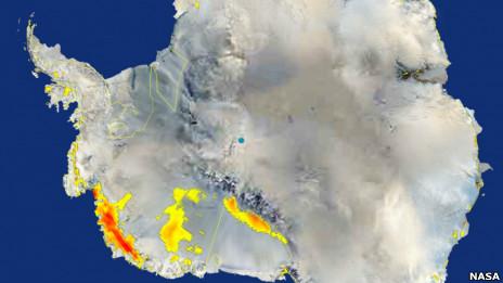 Imagem de satélite da Antártida (Nasa)
