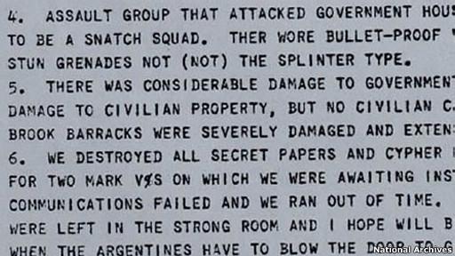 telegrama británico informa ataque argentino a Puerto Stanley