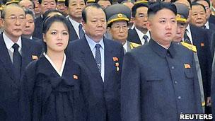 Kim Jong Un y su esposa