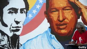 Pintura de Hugo Chávez junto a Simón Bolívar