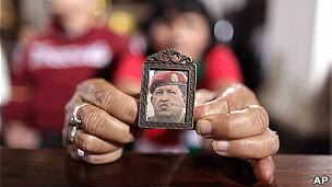 Retrato do presidente da Venezuela, Hugo Chávez (Foto: AP)