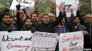 Protestos na Índia contra estupro