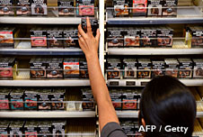 Cigarette packet sin a shop in Australia
