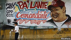mural de Chavez en calles de Caracas