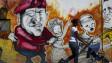 Một phụ nữ đẩy con đi qua áp phích vẽ TT Chavez của Venezuela