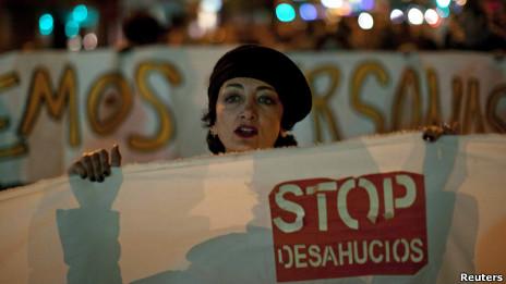 Manifestación contra los desahucios en España