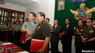 Quang cảnh lễ ký kết ở Phnom Penh