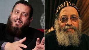 Emad Abdel-Ghafour, exlíder del principal partido salafista, y el Papa copto Teodoro II