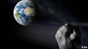 Simulación de un asteroide pasando junto a la Tierra
