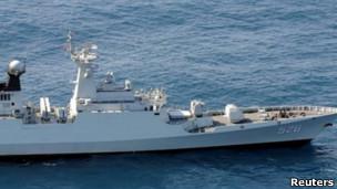 中国否认军方使用射控雷达锁定日本军舰和武装直升机(图为日本防务省公布的涉及事件的中国同类型军舰资料照片)