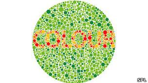 """Gráfico de circulos verdes y rojos que dice """"Colour"""" para prueba con los anteojos"""