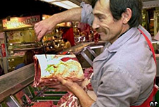 Supermarket beef seller