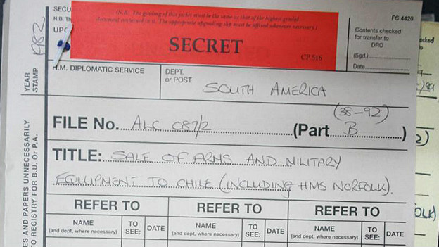Archivo secreto venta de armas Foto: BBC/National Archives