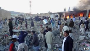 محل انفجار روز شنبه در شهر کویته پاکستان