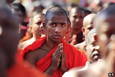 Buddhist monks in Sri Lanka from the hardline group Bodu Bala Sena