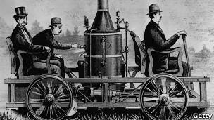 Ilustración de un coche de vapor