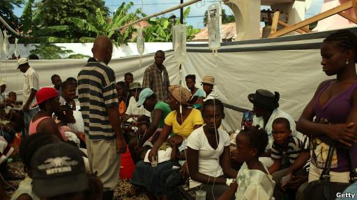 Pasien wabah kolera di Haiti, November 2010.