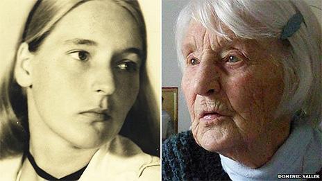 Liselotte Furst-Ramdohr, na época da guerra e atualmente (Foto: Domenic Saller)