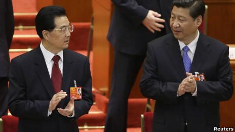 Chủ tịch Hồ Cẩm Đào và phó Chủ tịch Tập Cận Bình tại phiên khai mạc Quốc hội