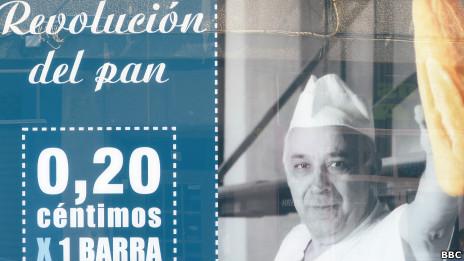 """Panel que promociona la """"revolución del pan"""""""