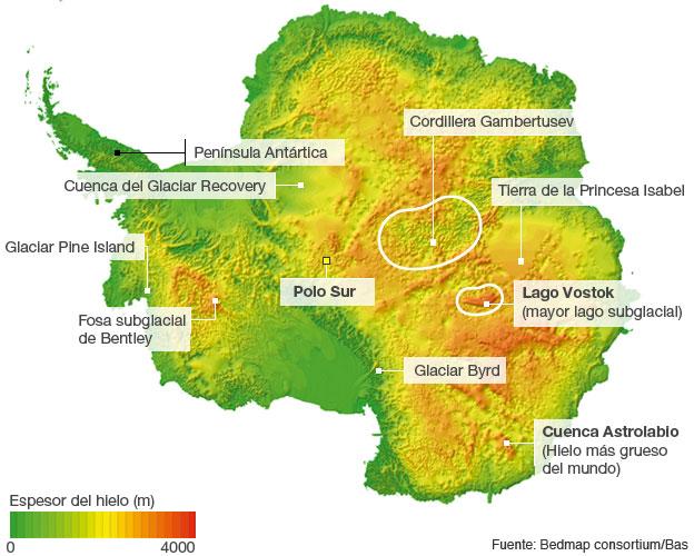 Gráfico del espesor del hielo sobre la Antártica