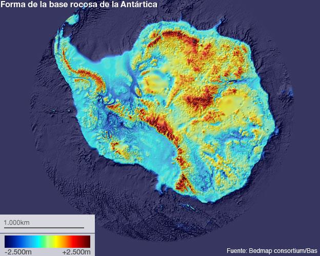 Mapa de la base rocosa de la Antártica
