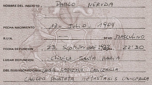 Certificado de defunción de Neruda