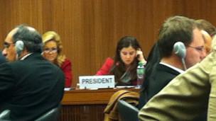 US Ambassador to UN in Geneva charing an discussion on Sri Lanka