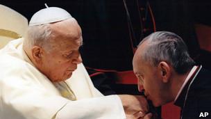 Juan Pablo II y Jorge Mario Bergoglio
