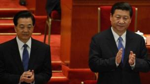 Ồng Tập Cận Bình và ông Hồ Cẩm Đào tại ĐH Đảng cộng sản TQ